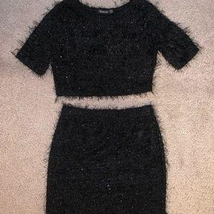 2 piece black fuzzy outfit